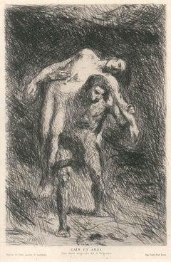Cain et Abel - Original Etching by Alexandre Falguière - Late 19th Century
