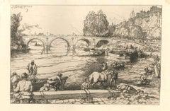 Le Pont Marie - Original Etching by Auguste Lepère - 1902