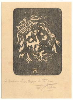 Portrait of Jesus - Original Woodcut by Max Théron - Early 1900