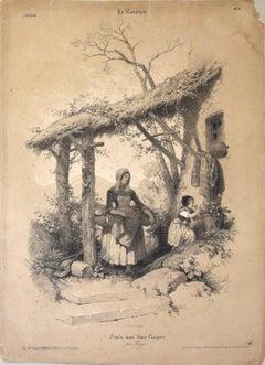 La Campagne - Original Lithograph by François Ferogio - 1844