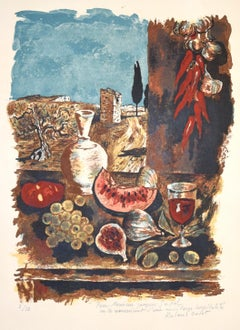 Still Life with Blue Sky - Original Lithograph by Roland Oudot