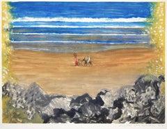 Le Retour par la Plage (Tunisie) - Original Monotype by E.Deschler - 1977