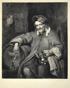 Self Portrait - Original Etching by Eliseo Fattorini - 1870 ca.