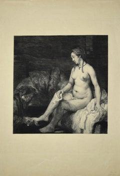 Le Lavement des Pieds - Original Lithograph d'Après Rembrandt by Léopold Flameng