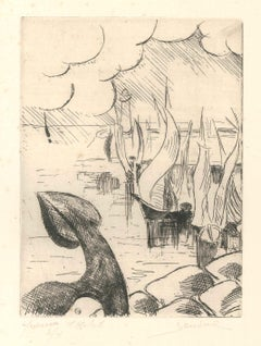 Ships - Original Etching by Jean Bondal