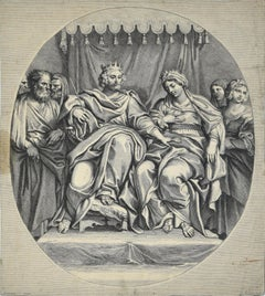 The King and the Queen - Etching after Domeniquin (Domenichino) by G. Audran