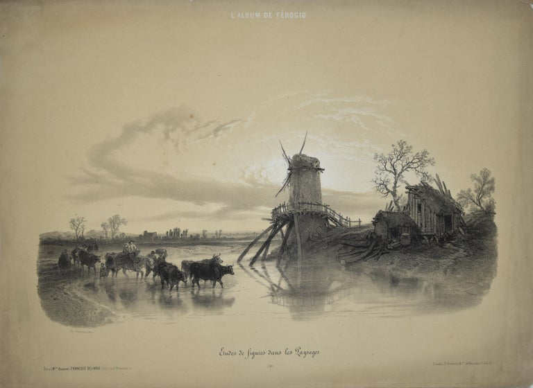 "Etudes de figures dans les Paysages is an original artwork realized by François Ferogio in the mid-XIX century. Original lithograph on paper.  Titled on plate on the lower margin. ""L'album de Ferogio"" is written on the upper margin.   Good"