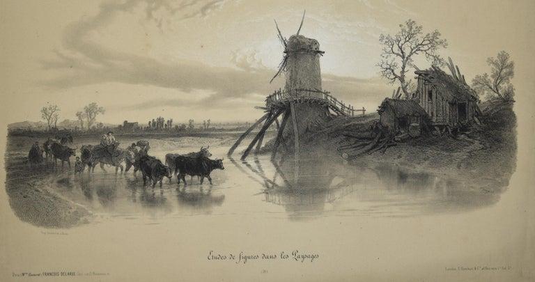 Etudes de Figures dans les Paysages - Original Lithograph by François Ferogio  For Sale 1