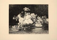 Vase de Fleurs - Original Etching by Louis Lemaire - 1870s