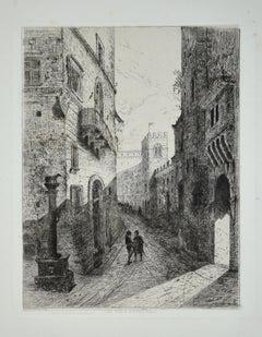 Une Rue à Sienne - Original Etching by L.-A. Leconte de Roujou - 1863