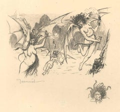 Les Harpies - The Harpies - Original Lithograph by P.-G. Jeanniot