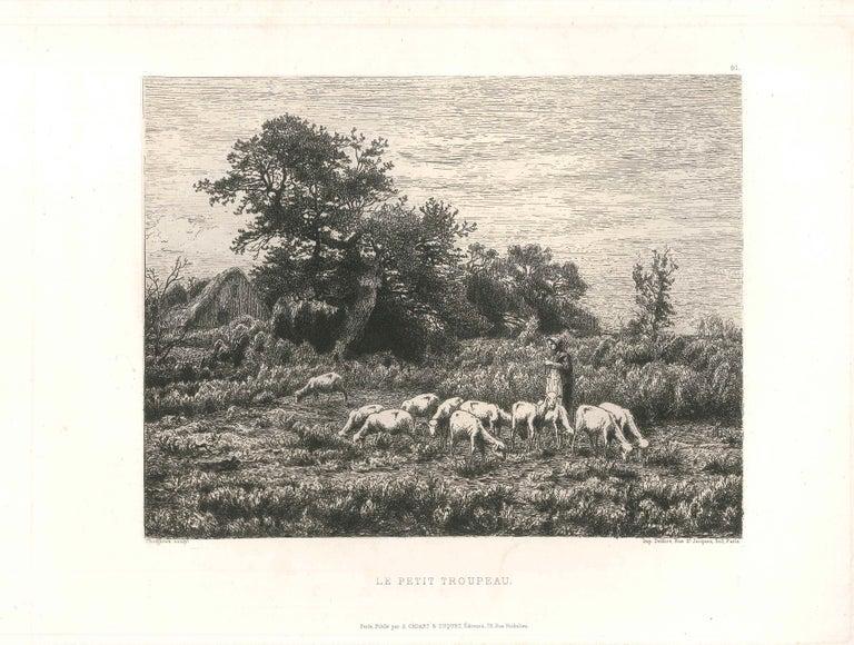 Jean-Ferdinand Chaigneau  Landscape Print - Le Petit Troupeau - Original Etching and Drypoint by J.-F. Chaigneau - 1860