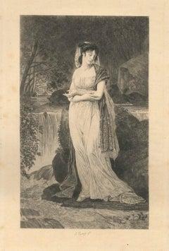 Ophelia - Original Etching by Jules Simon Payrau - Late 19th Century