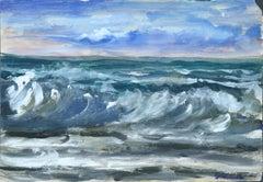 Blue Marine - Original Tempera on Paper by Jacques Meunier - Mid 20th Century