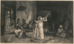 Danseuse Orientale - Original b/w Etching by Charles Courtry - 1880s
