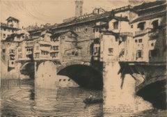 Ponte Vecchio à Florence - Original Etching by Lajos Szanto - 1931