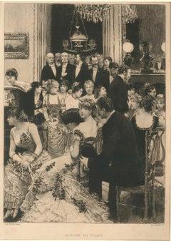 Autour du Piano - Original Etching After Jean Béraud by A. Lalauze - 1880s