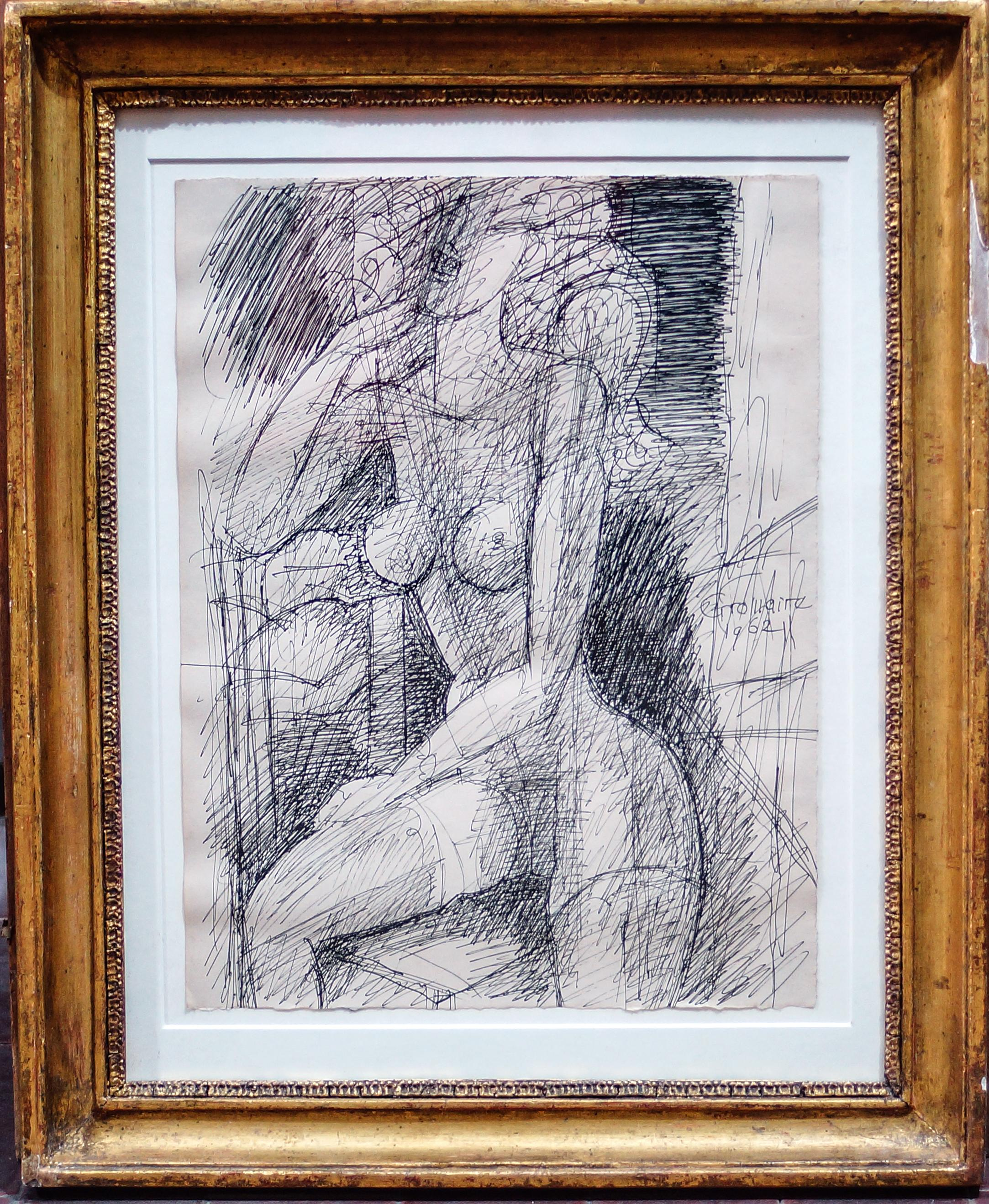 Female Figure - Original China Ink by Marcel Gromaire - 1962