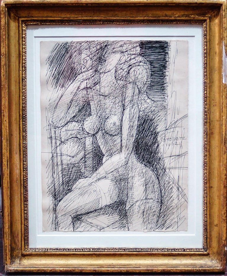 Beautiful China Ink drawing by Marcel Gromaire, 1962. Contemporary wooden frame included. Excelle conditions.