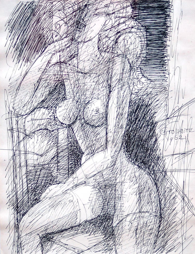 Female Figure - Original China Ink by Marcel Gromaire - 1962 For Sale 1