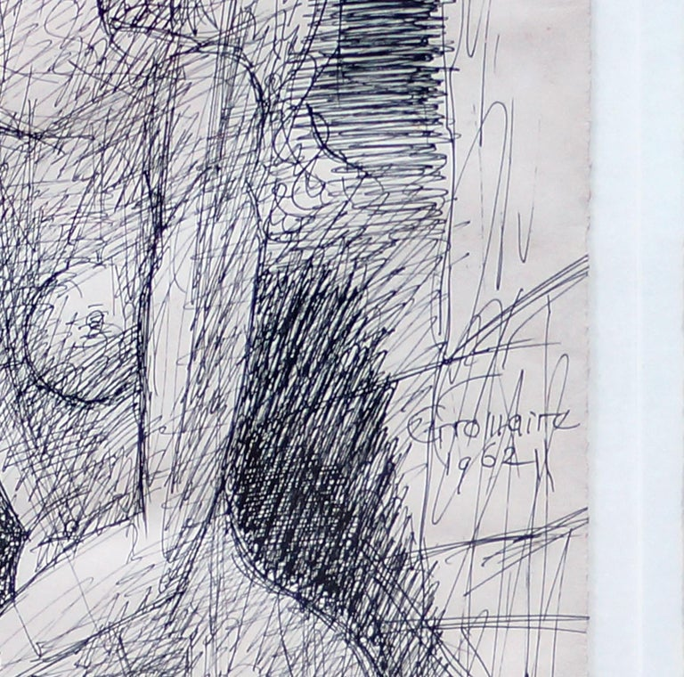 Female Figure - Original China Ink by Marcel Gromaire - 1962 For Sale 2