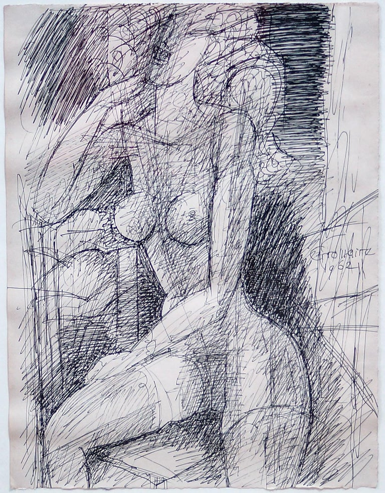 Female Figure - Original China Ink by Marcel Gromaire - 1962 For Sale 3