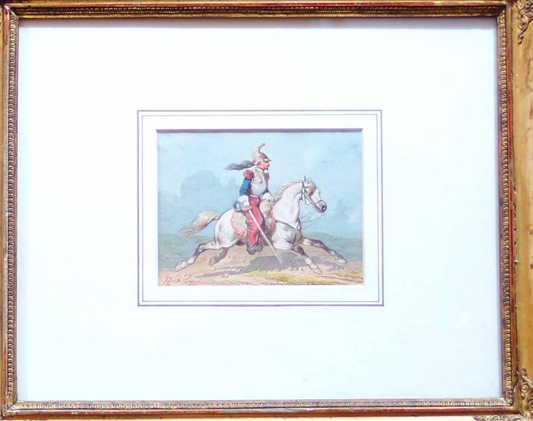 Beautiful watercolor, in very good conditions. The Artist, who was Simeone Fort's son, belonged to French school of XIX century and started his work in Salon of Paris in 1842. With the ancient original frame.  Prov.: Jaber & Marconi.  This artwork