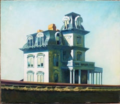 The House by the Railroad - Oil on Canvas by Zhang Wei Guang After E. Hopper