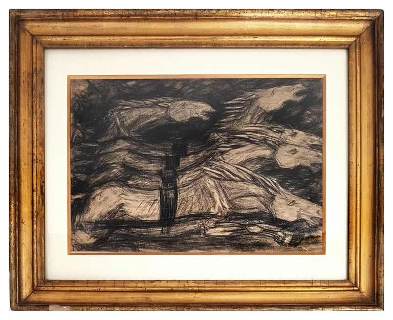 """Galloping Horses is a wonderful and original drawing in charcoal on paper, realized by the italian divisions artist Giuseppe Cominetti. Hand-signed in charcoal and dated on the lower left margin """"Paris, 1916"""".  This is a very dynamic composition of"""