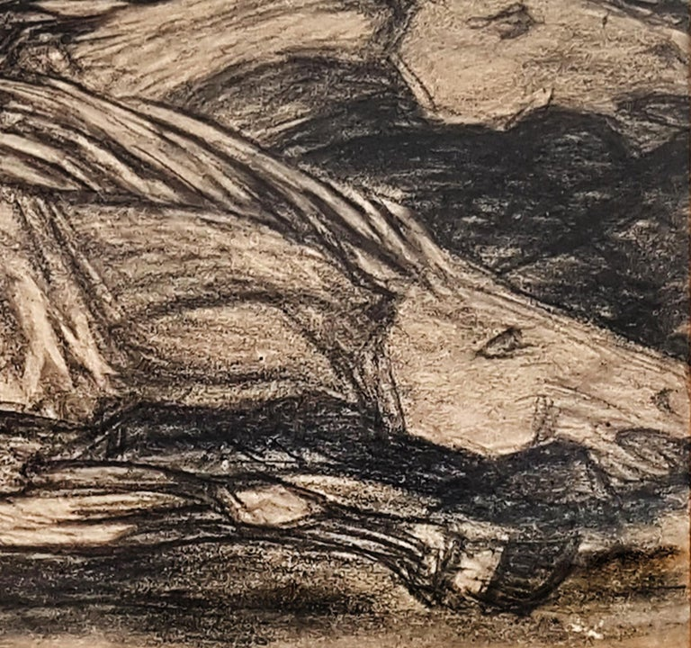 Galloping Horses - Original Charcoal on Paper by Giuseppe Cominetti - 1916  For Sale 1