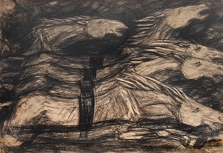 Galloping Horses - Original Charcoal on Paper by Giuseppe Cominetti - 1916  For Sale 2