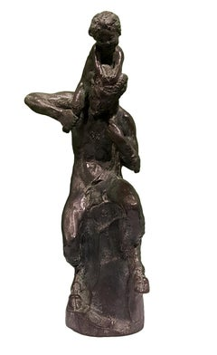 Satyr with Young Faun on his Shoulders - Bronze Sculpture by Aurelio Mistruzzi