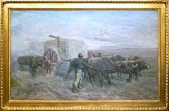 Carriage of Travertine - Oil on Canvas by Giuseppe Raggio - 1901