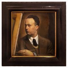 Self Portrait - Oil on Cardboard by Rosario Pulvirenti - 1936