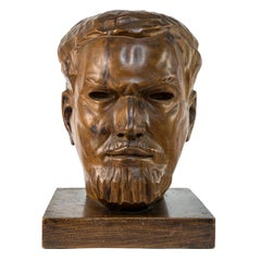 Portrait of Italo Balbo - Original Wooden Sculpture by Marco Novati - 1930s