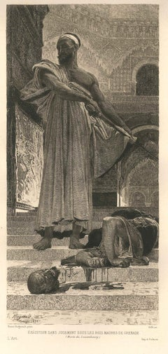 The Execution - Original Etching by Alberto Maso Gilli - 1870s