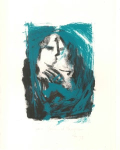 Abstract Portrait - Original Lithograph on Paper by Abdallah Akar - 1996