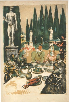 The Summer Lunch - Original Lithograph by Roland Oudot - XX Century