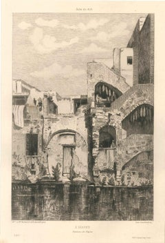 A Scafati - Original Etching and Drypoint by Lèon Gaucherel - 1876