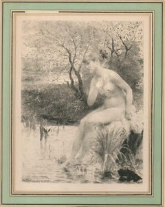 Bagneuse - Original Etching by Emile Boilvin - 1887