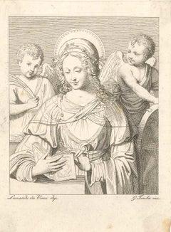 Virgin Mary Reading - Original Etching After Leonardo Da Vinci by Giulio Tomba