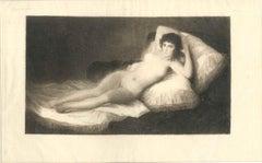 La Maja - Original Etching by C.A. Waltner After F. Goya - End of 1800