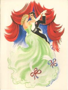La Danse - Original Lithograph by Emile Deschler - 1930s