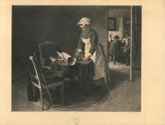 Chez François Bouvin - Original Etching After François Bouvin by Charles Coutry