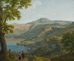 Landscape at Lake Nemi - Oil on Canvas by Franz Knebel - Half of 1800