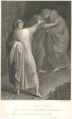 Dante Alighieri - Original Burin on Paper by A. E. Lapi After Luigi Sabatelli
