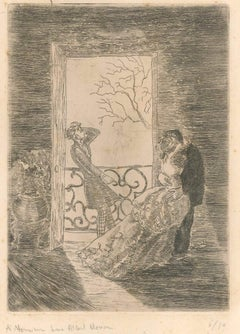 The Stolen Kiss - Original Etching by Philippe Julian - 1943