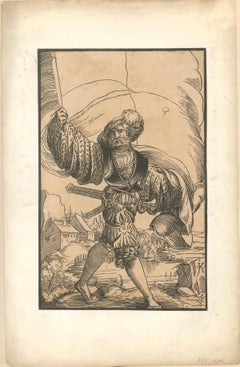 Soldier - Original Xilograph on Paper by Master JK - 17th Century