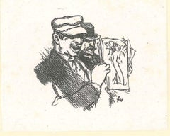 Two Men with an Illustration - Original Woodcut by Auguste Lepère - 19th Century