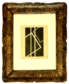 Black Geometrical Composition - China Ink Drawing by F. Kupka